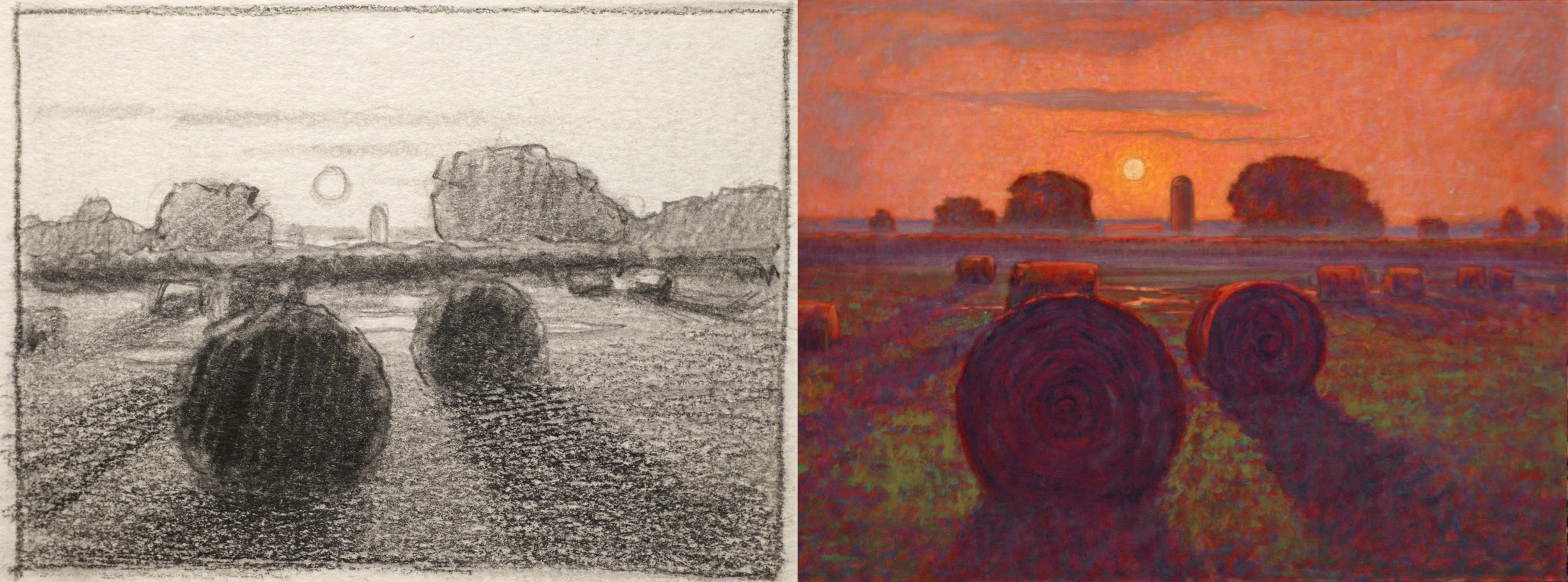 Haybales at Sunset  | study and completed work | 2004