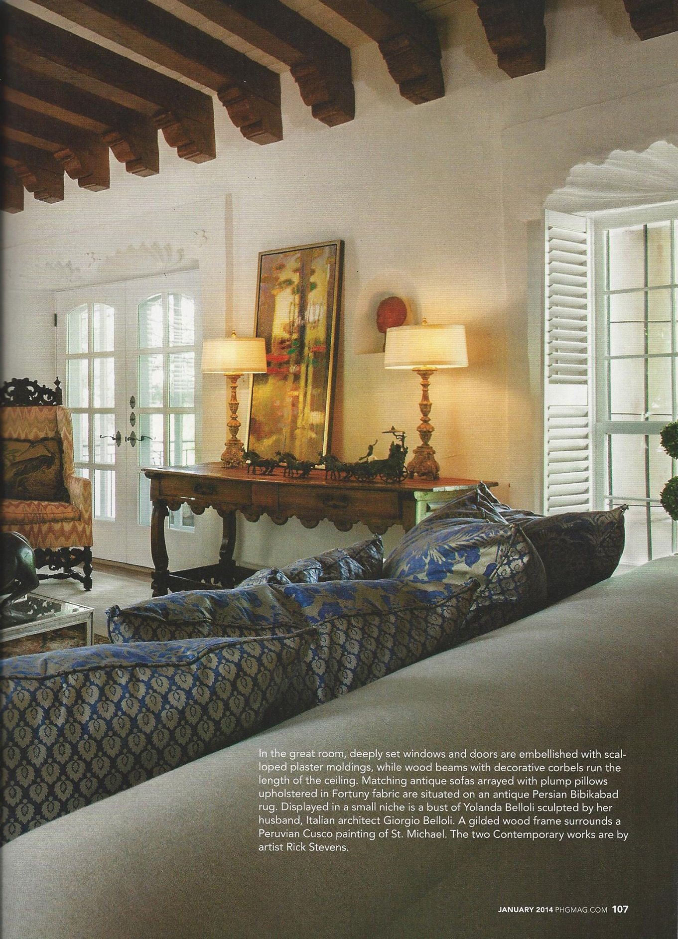 """Rick's 2012 painting """"Unfolding Tendencies"""" can be seen in the January 2014 edition of Phoenix Home and Garden"""