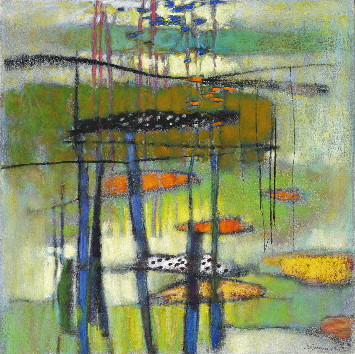 "67-12   | pastel on paper | 14 x 14"" | 2012"