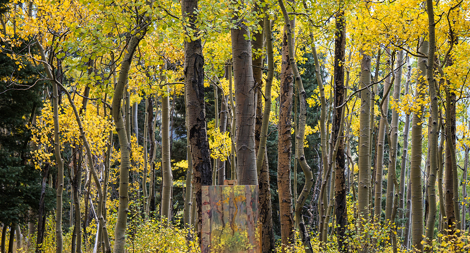 In the mountains of Santa Fe, for more aspen inspired paintings