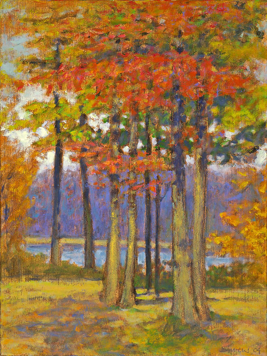 """Trees Along Long Lake     oil on linen   16 x 12""""   2004"""