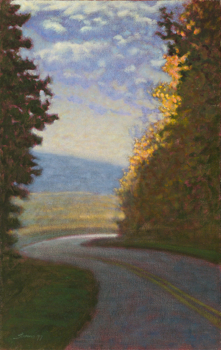 """Around the Bend     oil on canvas   25 x 16""""   1997"""