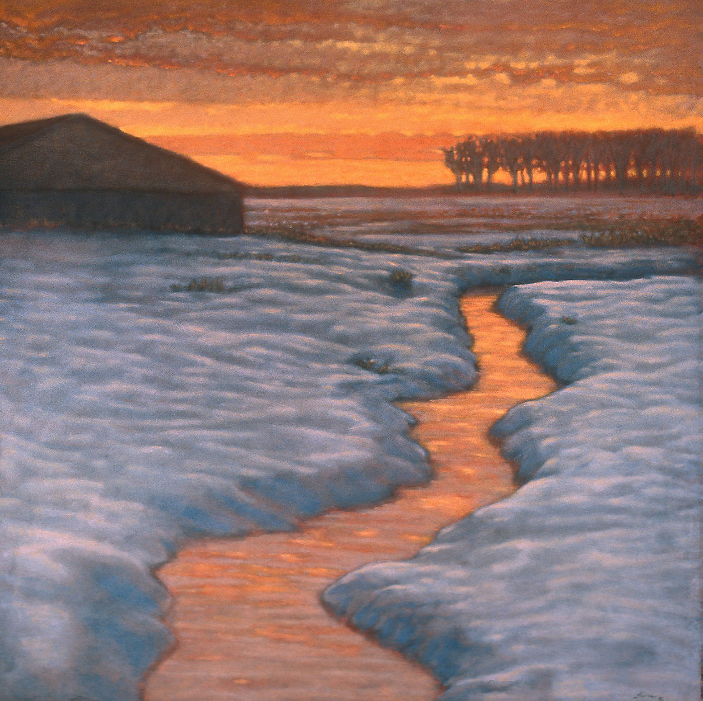 """Winter Stream With Barn  