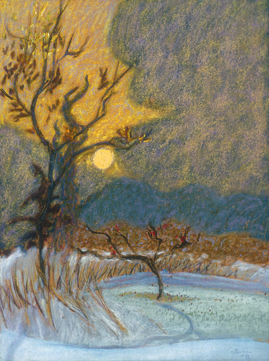 Low Sun, Early Winter   | pastel on paper | 15 x 11"