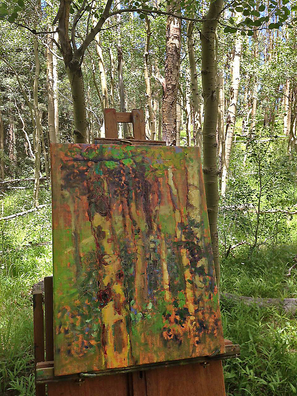 Rick made it up to the aspens to continue this series paintings