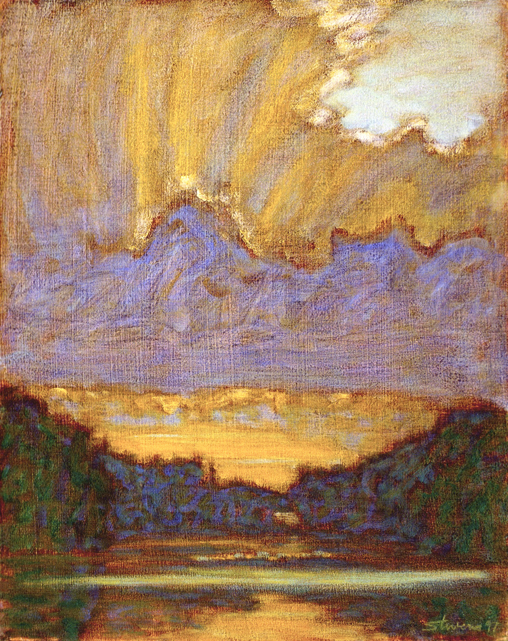 Wooded Lake   | oil on canvas | 15 x 12"