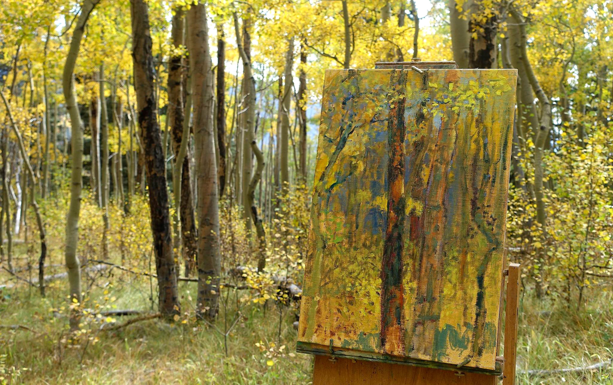 New plein air aspen painting underway