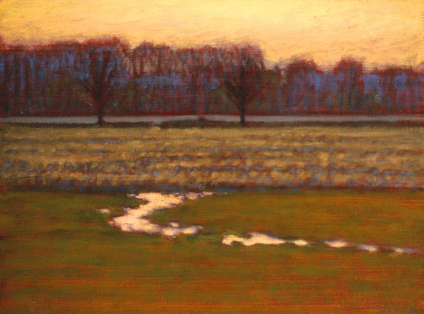 "Cornfield at Twilight   oil on panel   12 x 16""   1996"