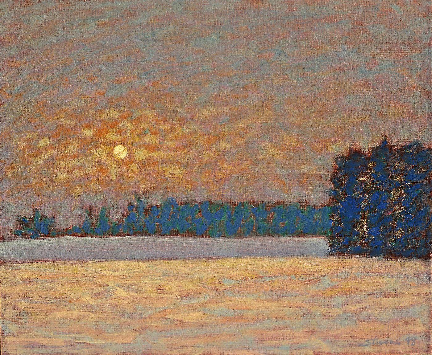 """Winter Moon     oil on canvas   12 x 14""""   1998"""