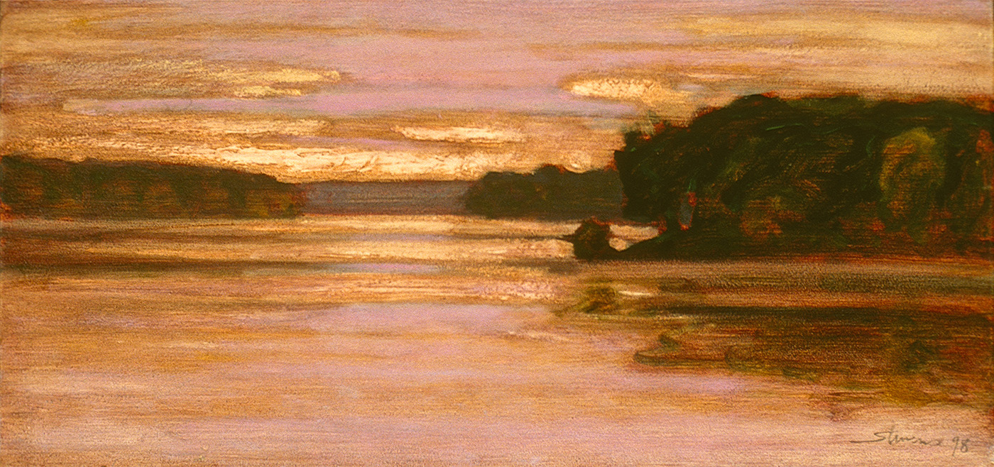 "Kent Lake     oil on canvas   9 x 18""   1998"