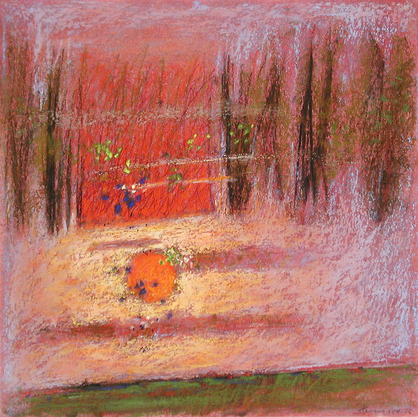 "104-05     pastel on paper   14 x 14""   2005"