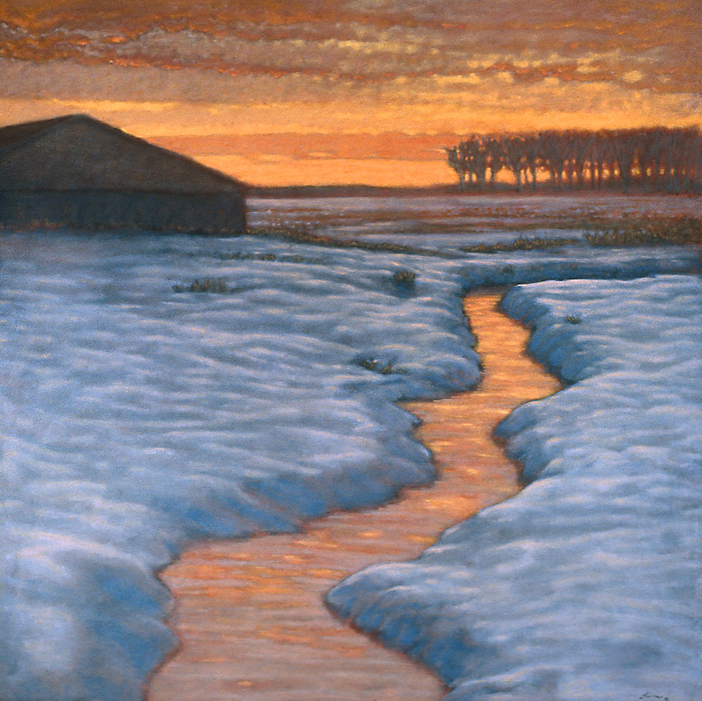 Winter Stream With Barn   | oil on canvas | 48 x 48"