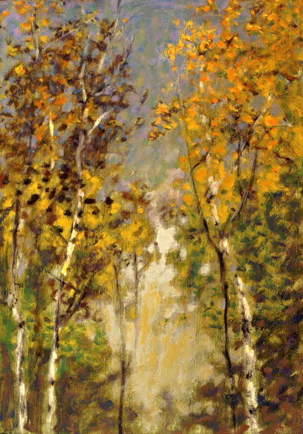 """Autumn Treetops     oil on canvas   17 x 12""""   2001"""