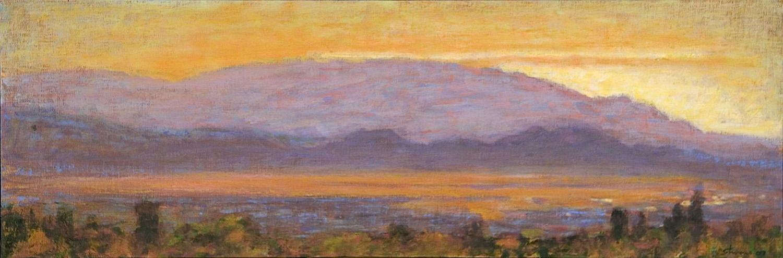 "Santa Fe, Looking West   | oil on canvas | 10 x 30"" | 2007"