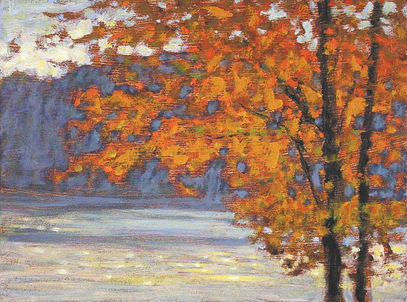 Orange On Blue   | oil on canvas | 9 x 12"