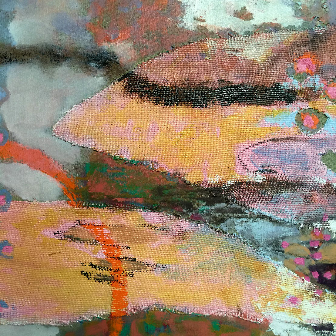 detail of new work in progress at the studio