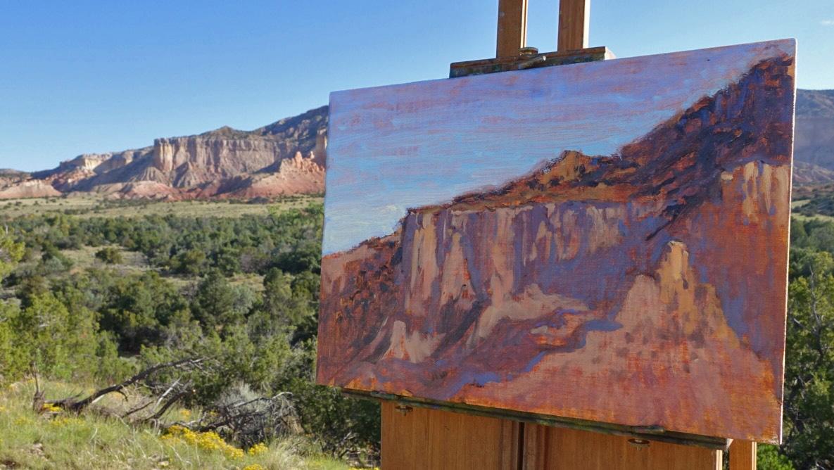 New plain air painting in progress at Abiquiu, NM