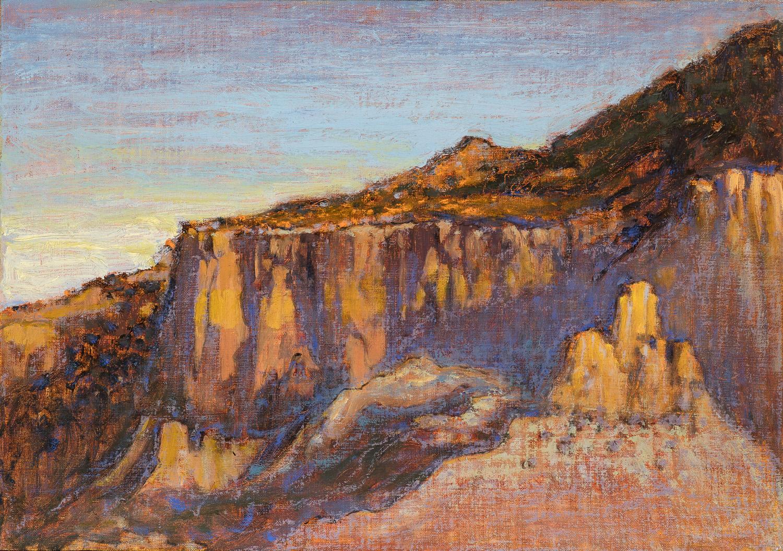 "Light on the Cliffs     oil on linen   12 x 17""   2016"