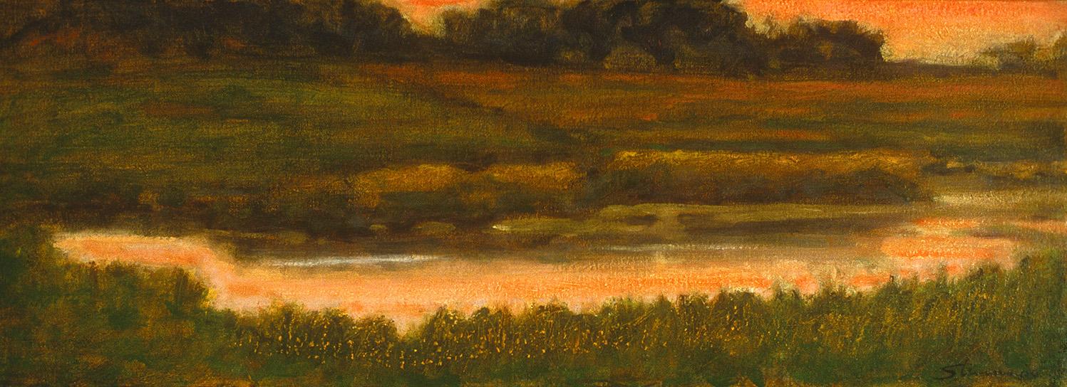 """Still Pond     oil on canvas   6 x 18""""   2000"""