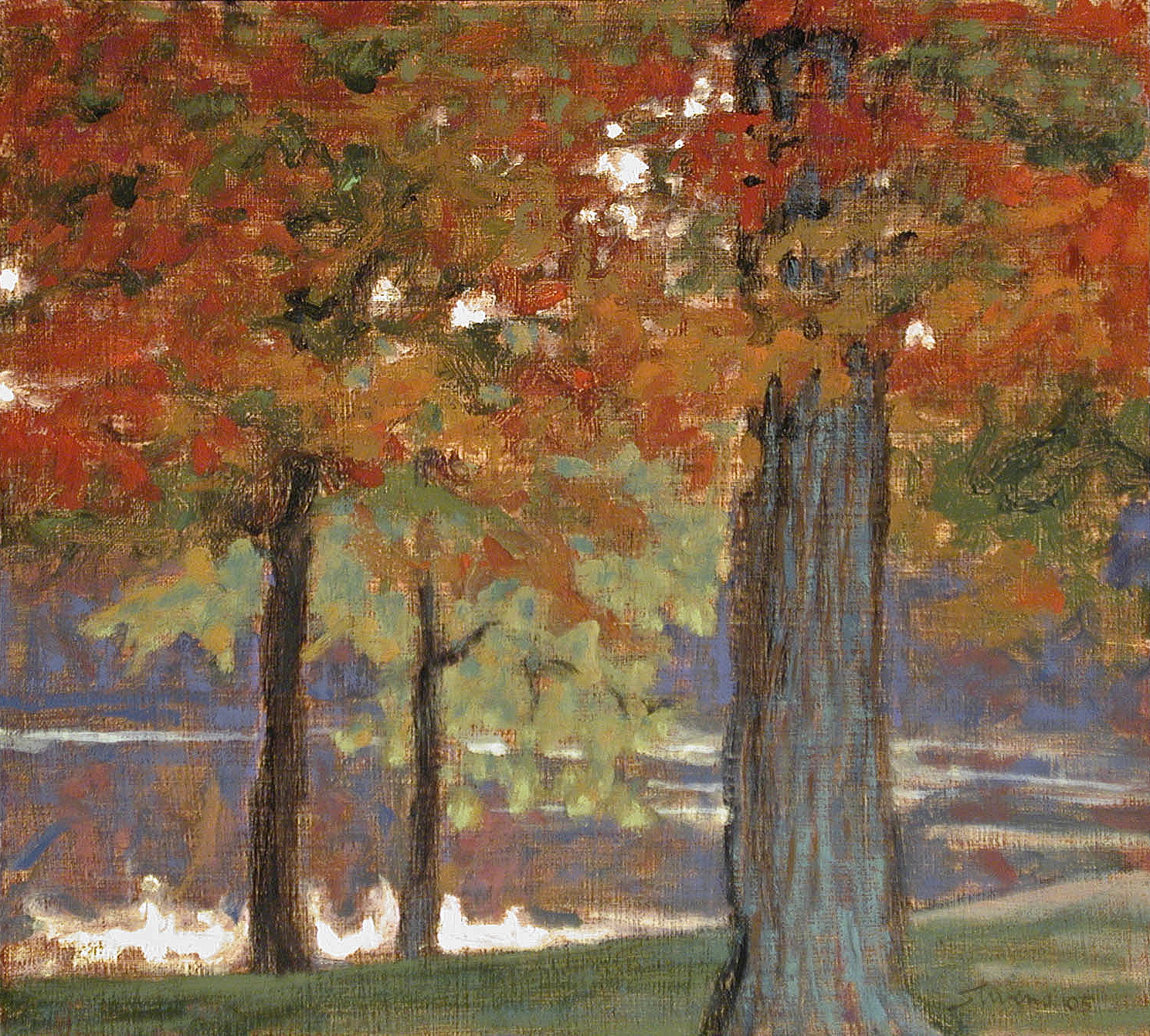 Dusk at the Lake, Autumn   | oil on linen | 12 x 13"