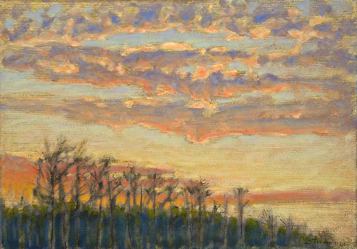 "Evening Sky   | oil on linen | 12 x 17"" | 2001"