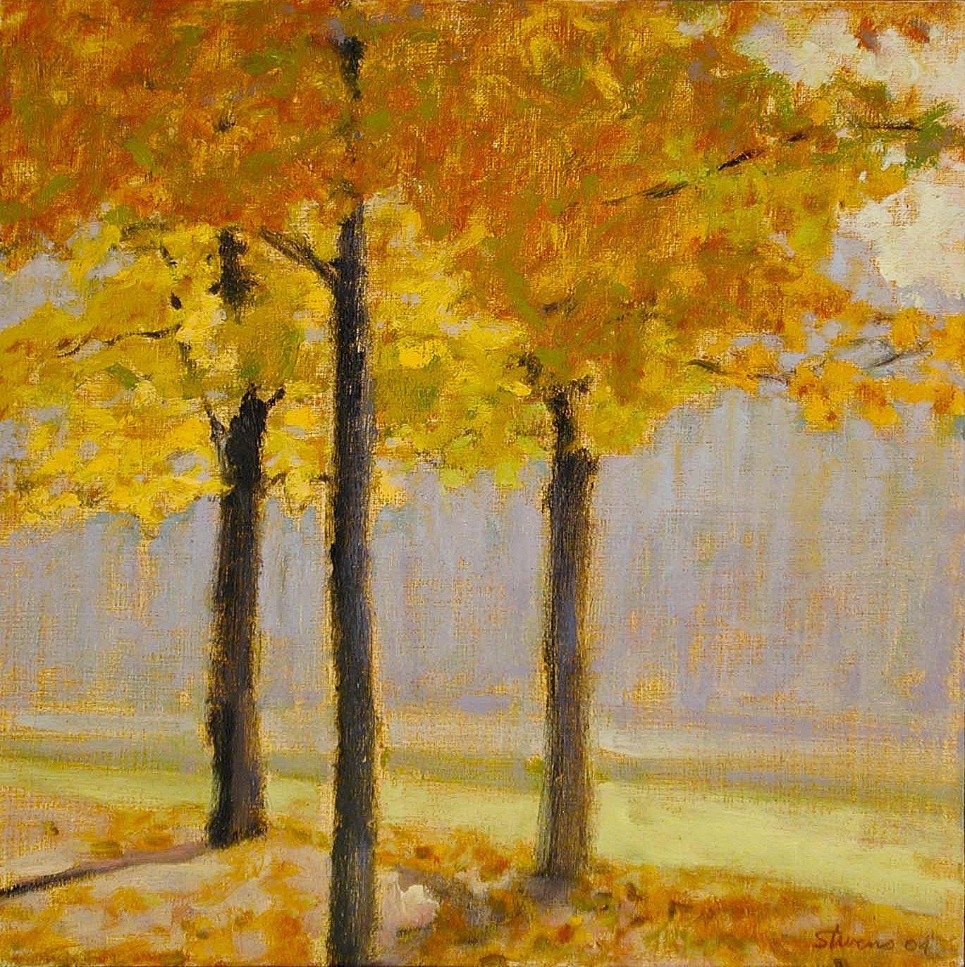 "Three Trees, Long Lake Park  | oil on linen | 12 x 12"" | 2004"