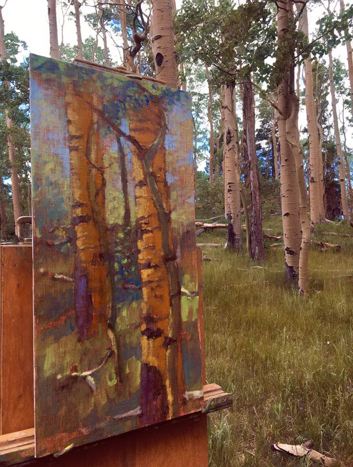 Plein air painting in progress in the mountains of Santa Fe, NM
