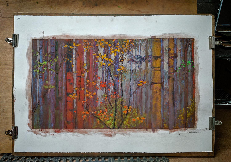 pastel on paper in progress in Santa Fe studio