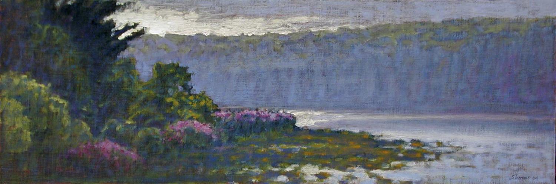 "Pickerel Lake  | oil on linen | 10 x 30"" | 2004"