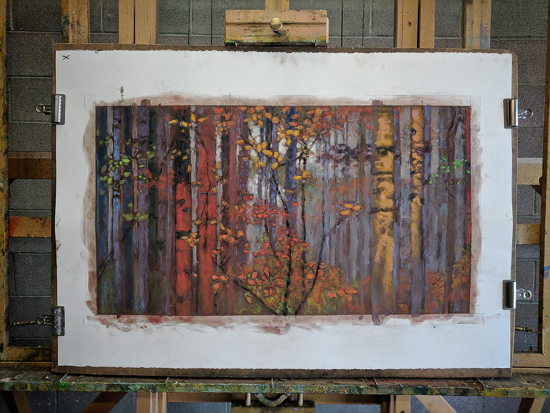 pastel on paper piece in progress at the studio in Santa Fe, NM