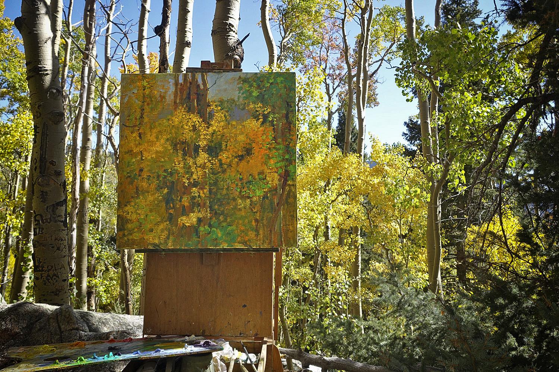 Plein air painting in progress in Santa Fe, NM
