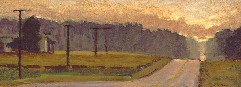 "14 Mile Road  | oil on canvas | 6 x 18"" | 2000"