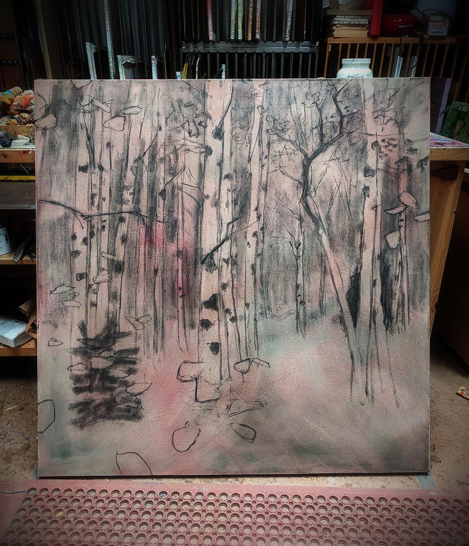 oil on canvas in progress in Santa Fe, NM