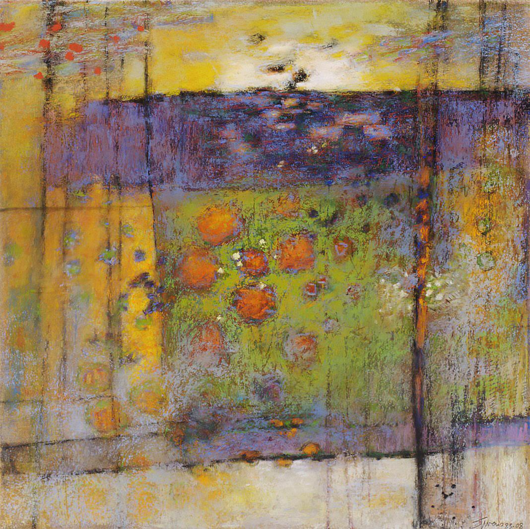 "Infinity Room  | pastel on paper | 14 x 14"" | 2008"