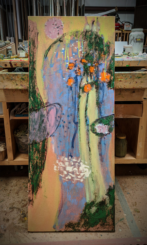 """48 x 19"""" oil on canvas in progress in Santa Fe, NM"""