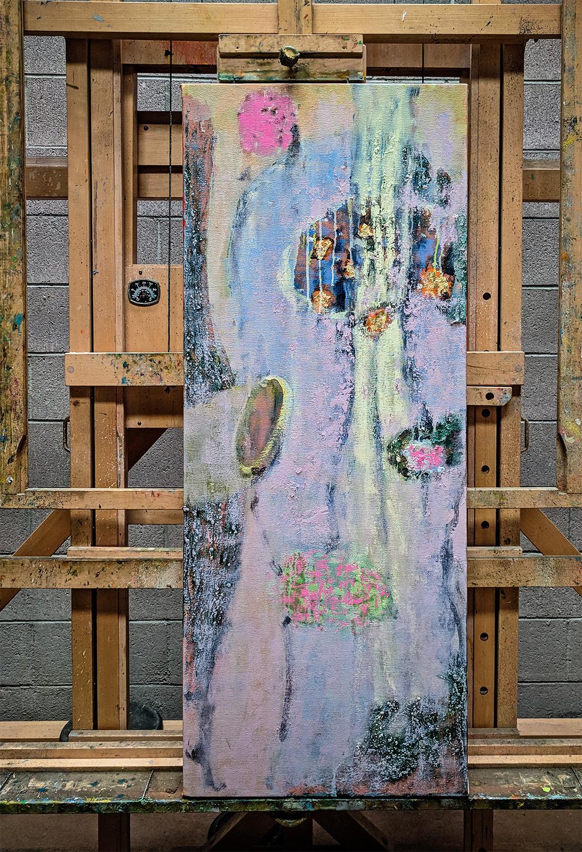 oil on canvas in progress at the studio, Santa Fe, NM