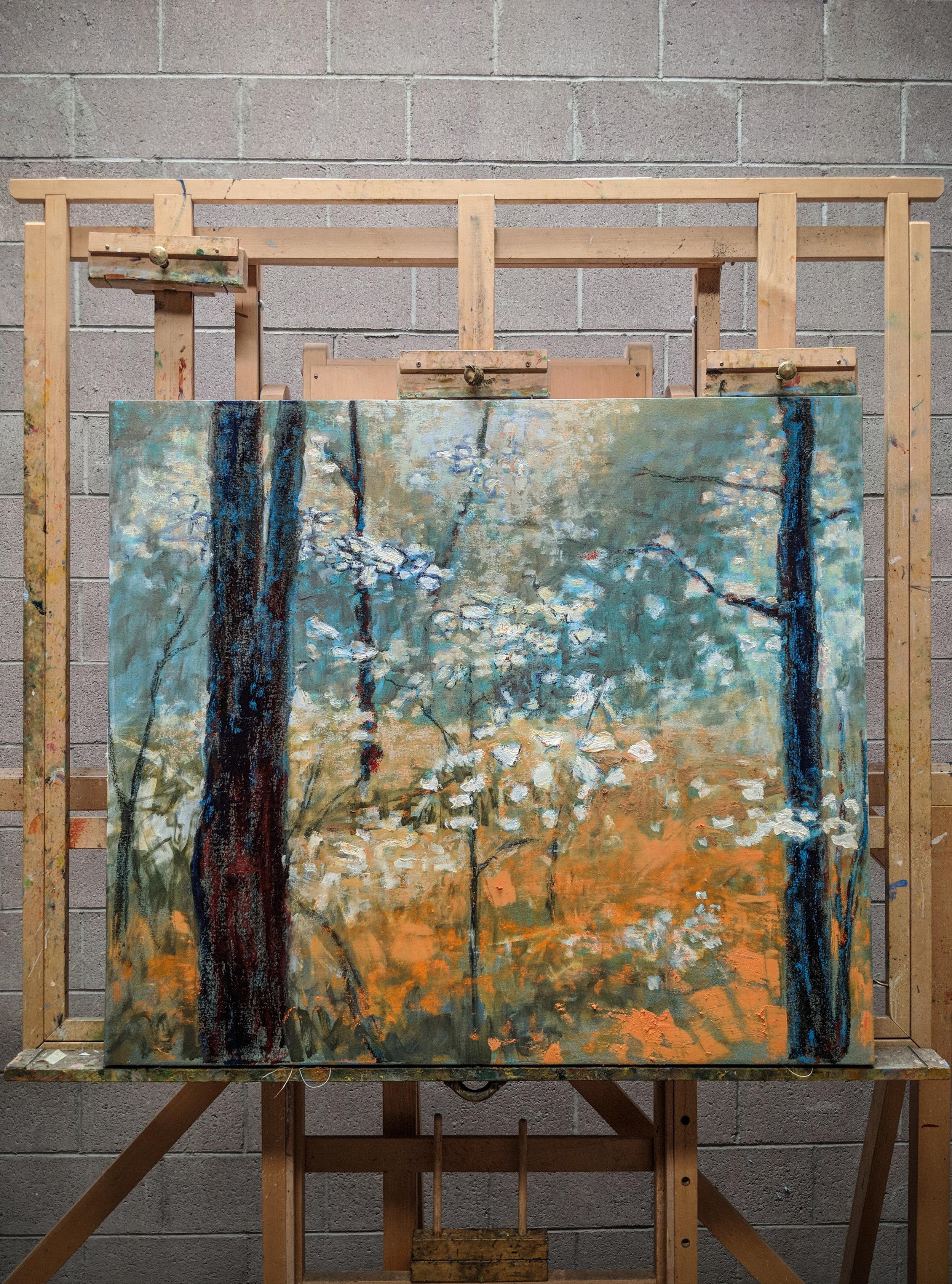 large oil on canvas in progress in Santa Fe, NM