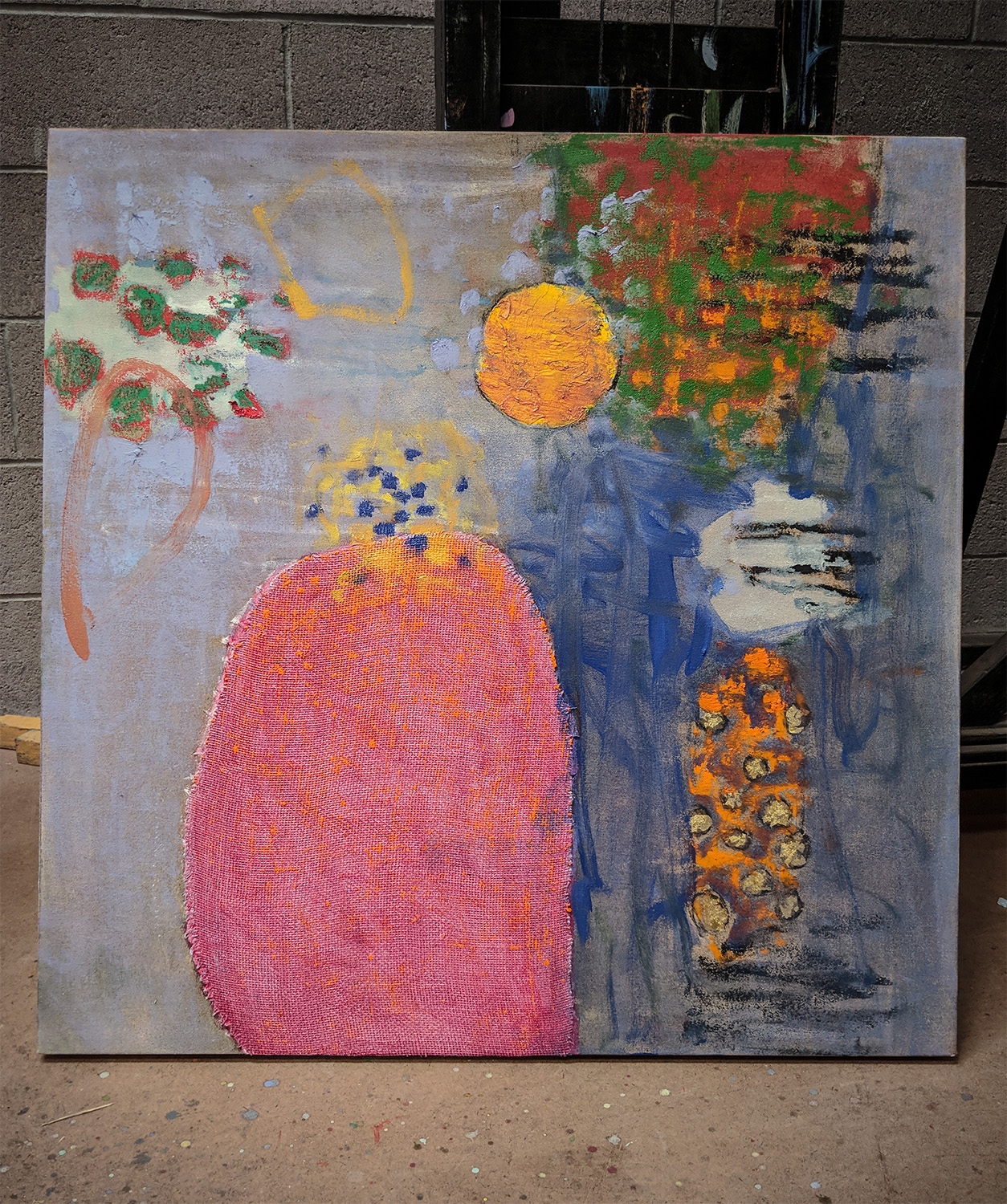 early stages of oil on canvas painting in Santa Fe studio