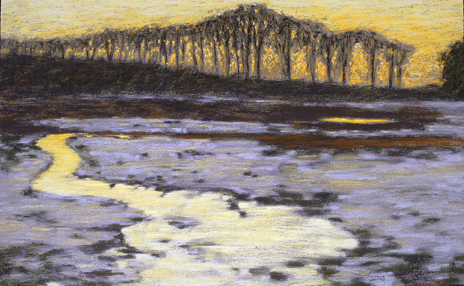 January Thaw | 1995  I was drawing a lot of my inspiration in the 90's from the farmland around Sparta, Michigan. Going out painting and photographing. I was very excited to catch the afterglow light reflected in the melting snow and creek. This is a pastel study. later a large oil was to come, from the slides I took at sunset.