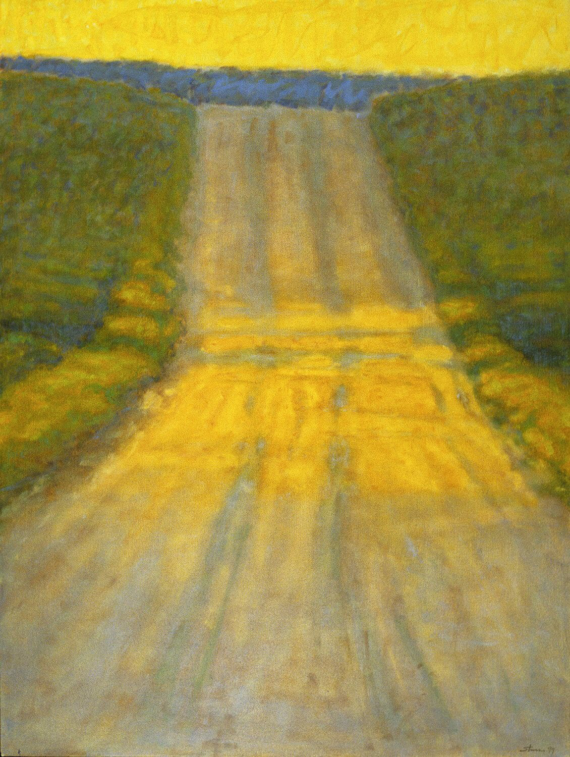 Country Road | 1999  Surprisingly this idea was inspired by a contemporary Japanese artist (I forget his name) who did some very minimal landscapes of a road, a river, almost like the color field painters like Rothko. That influence, along with Regionalism of the 30's inspired me to take this familiar theme of a country road. This particular one came from rural Michigan. I loved the Hopper-esque low light of morning or early evening raking across the dirt road... a slice of Americana.
