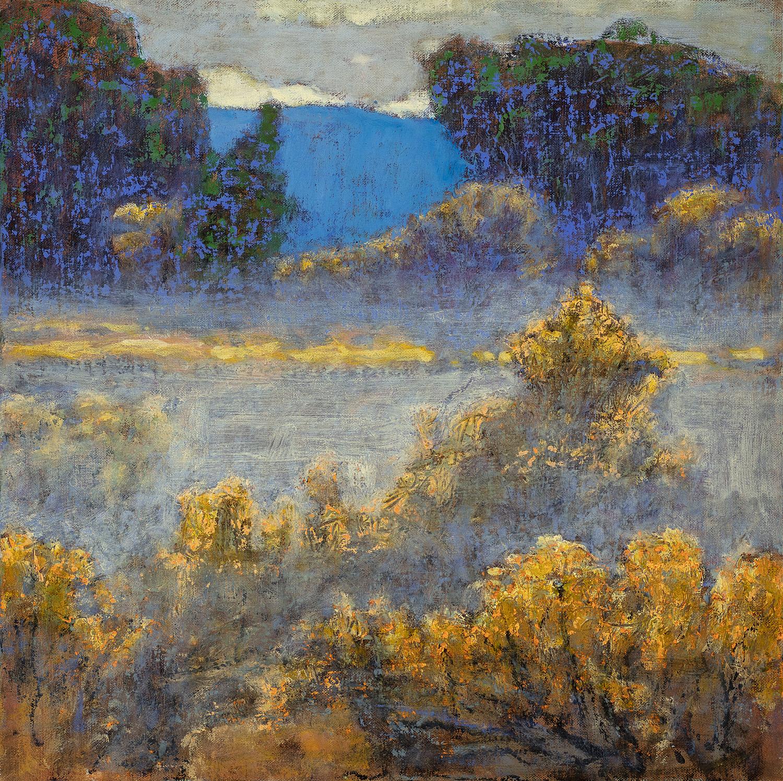 "Morning Mist in the Arroyo  | oil on linen | 14 x 14"" | 2018"