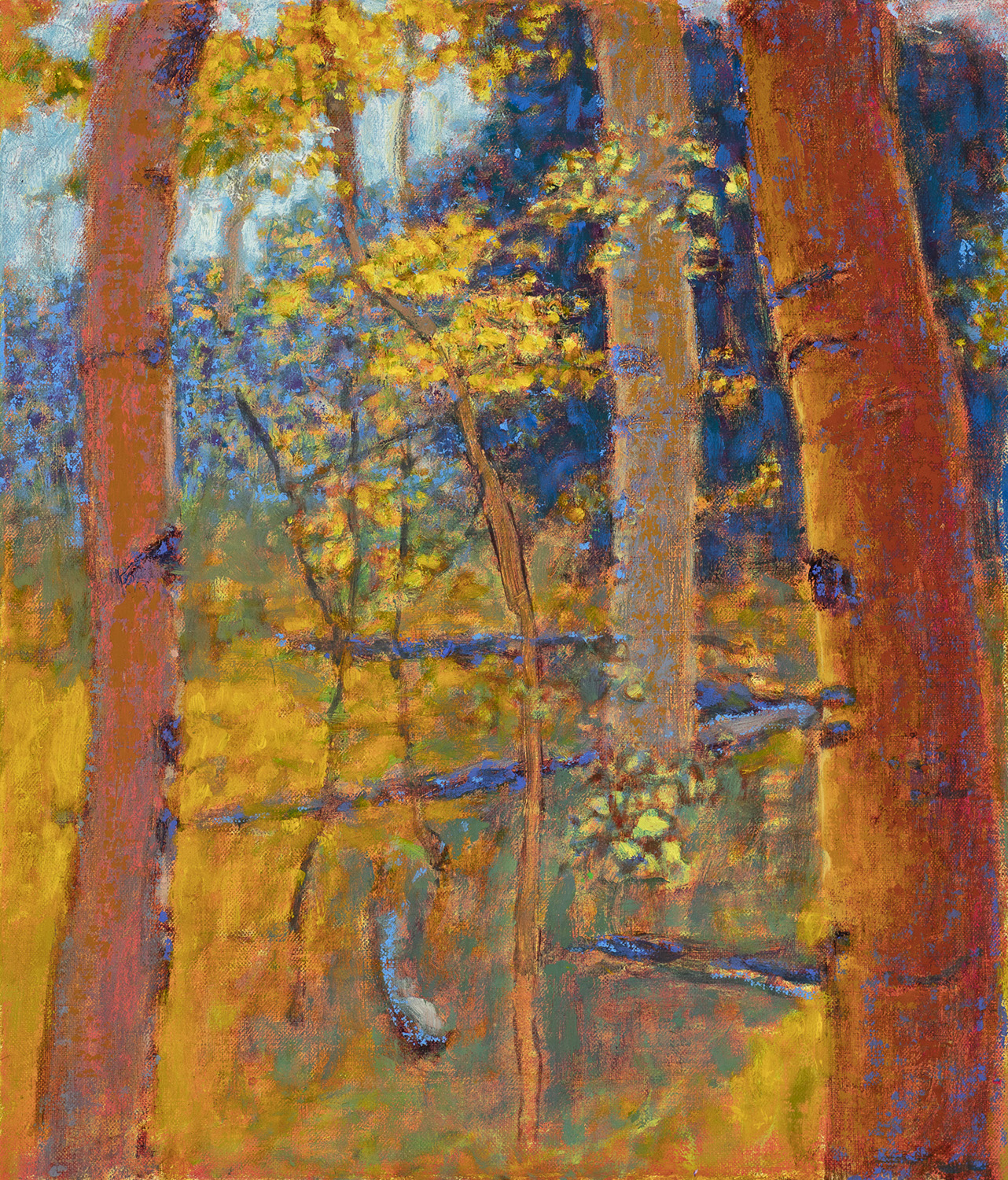High Mountain Aspens II  | oil on linen | 14 x 12"