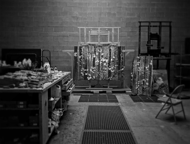 some works in progress at the studio in Santa Fe, NM