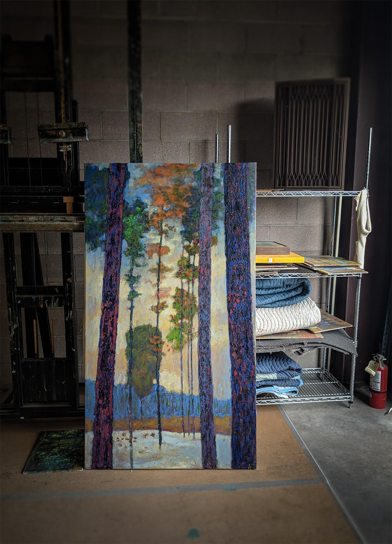 large oil on canvas in progress at the studio in Santa Fe, NM