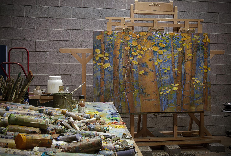 """48 x 72"""" painting in progress in Santa Fe studio"""