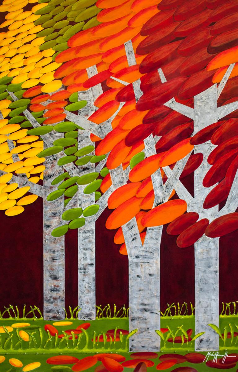 Michel Rainville, Beauté d'automne, acrulique, 60 x 30 po.