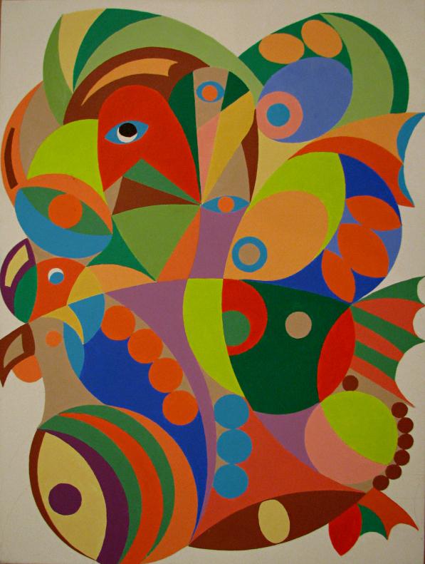 Jean-Guy Marchand, Psychose, Acrylique sur toile, 2013 (45 x 60 cm).