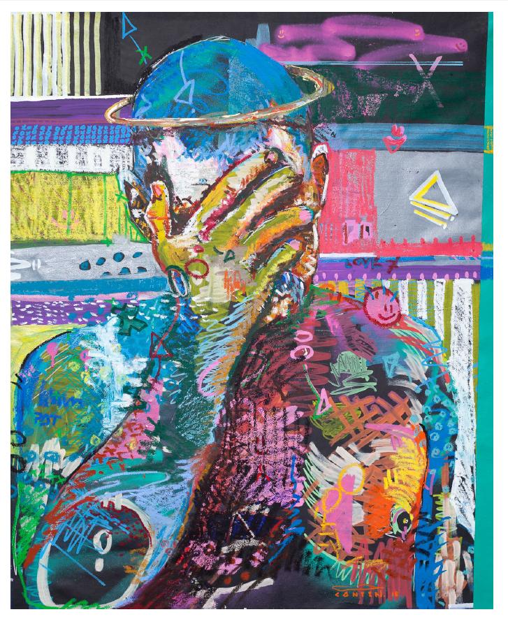 """Selfie, acrylique. aérosol. marqueurs posca et pastel à l'huile sur toile. 30"""" x 36""""."""