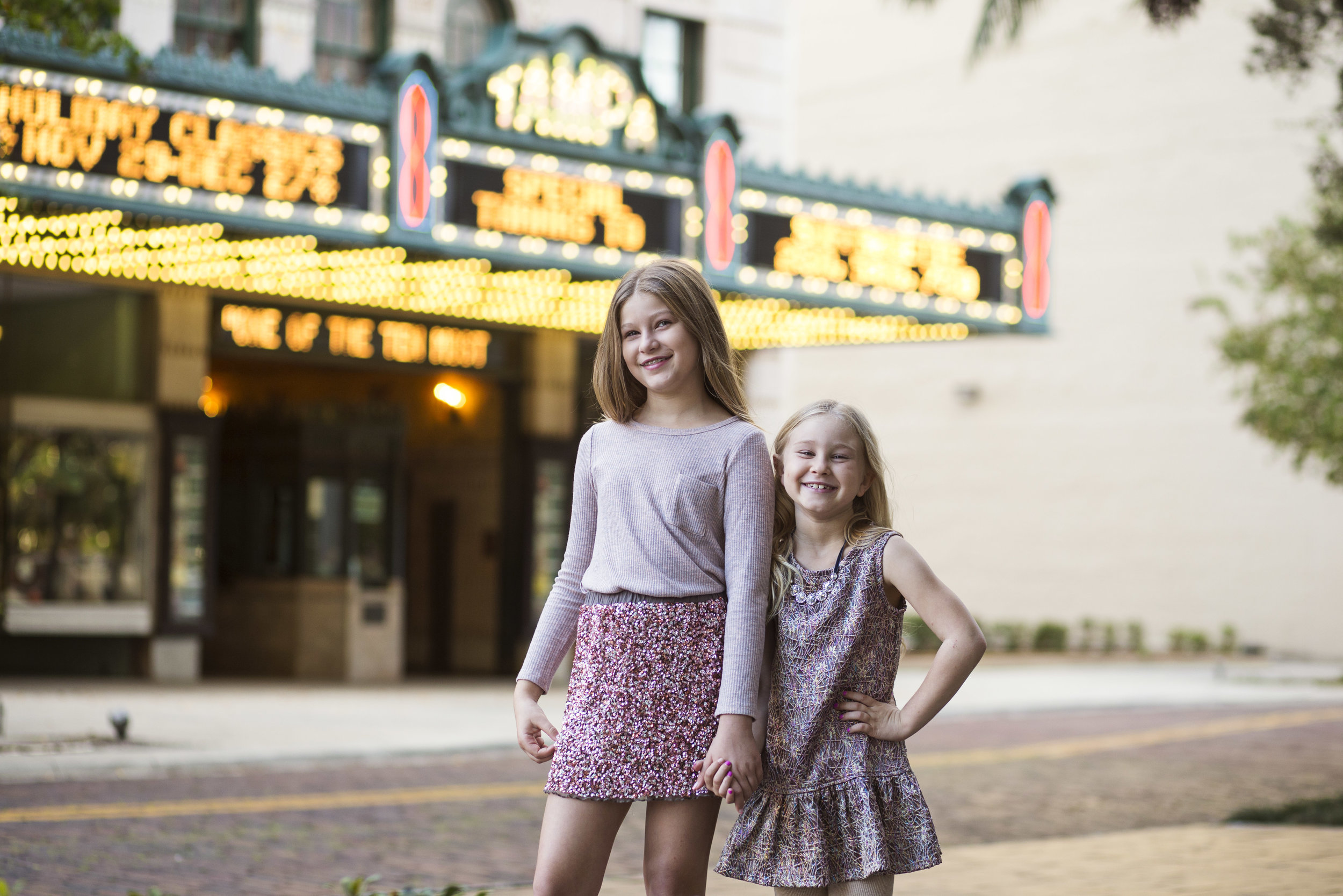 Girls in front of Tampa Theater