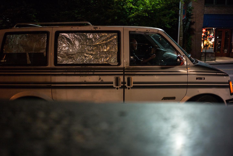 Man & Tinfoil Van. Asheville, North Carolina 2015